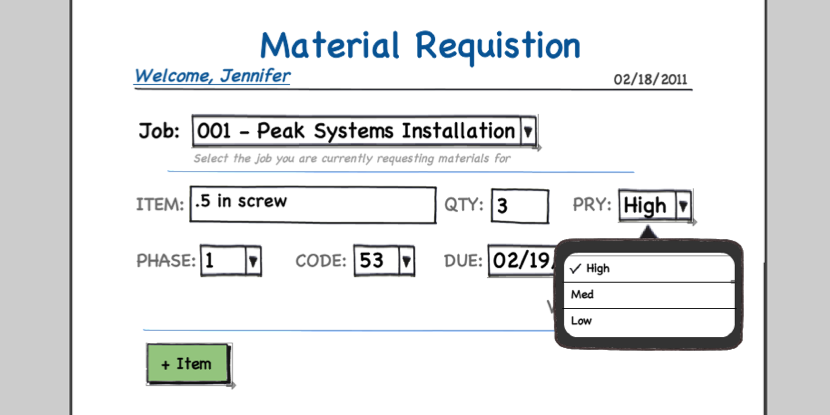 Material Requisition wireframes
